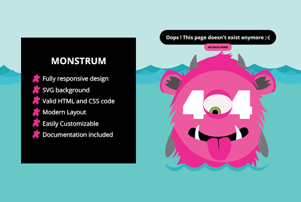 Monstrum – A Responsive 404 Page